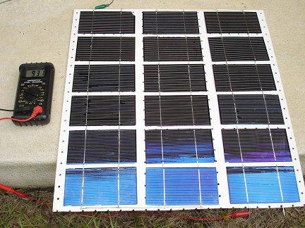 Тест первой изготовленной половины батареи на солнце