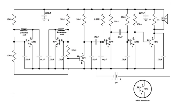 Электрическая схема для чувствительного металлоискателя